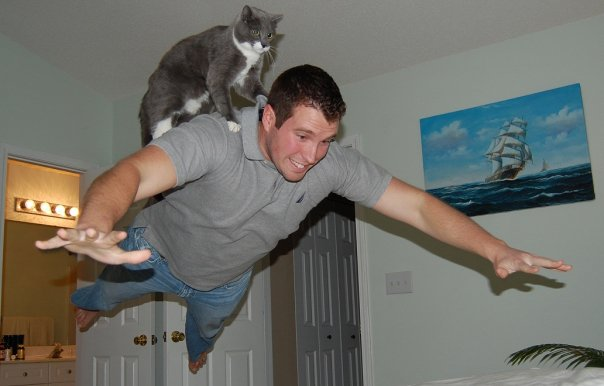 cat rides the back of a guy flying in midair Picture of the Day   May 20, 2010