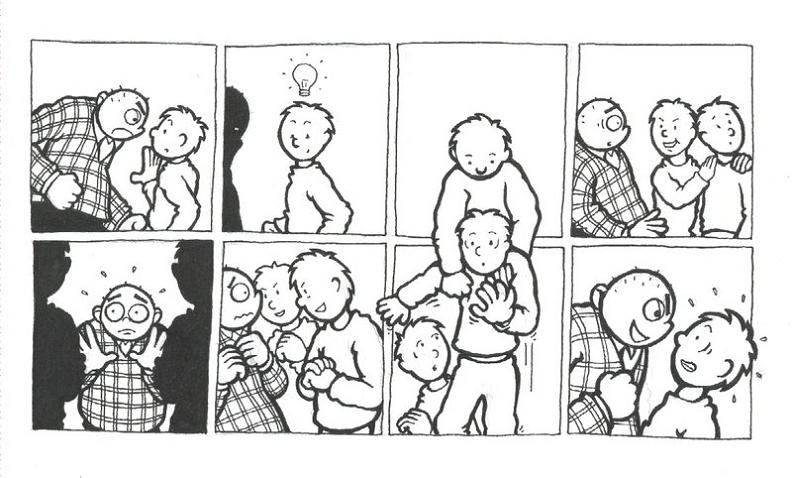 comic guy grabs twin brother for fight The Bully [Comic Strip]