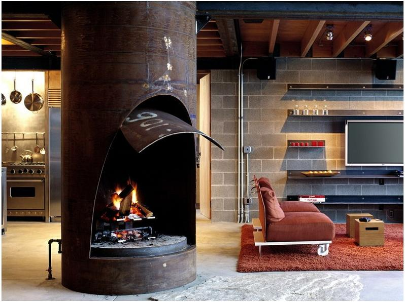 Industrial Chic Modern Cabin With Giant Window For A