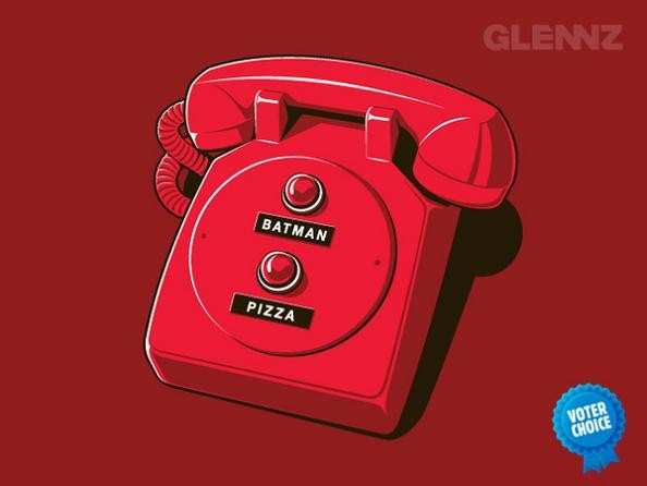batphone red emergenct phone 25 Hilarious Illustrations by Glennz