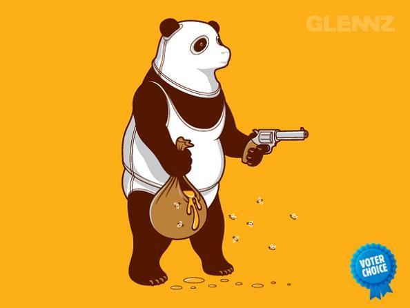 bear with gun taking honey 25 Hilarious Illustrations by Glennz