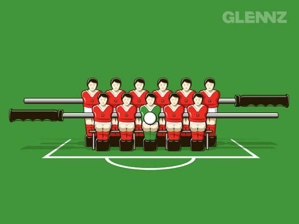 foosball team photo 25 Hilarious Illustrations by Glennz