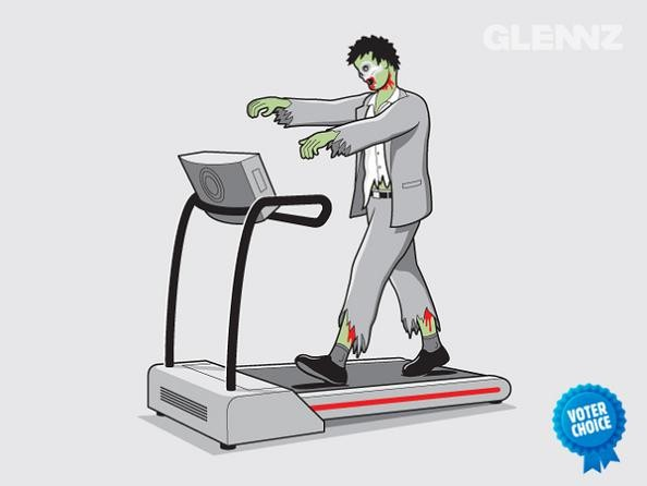 frankenstein on a treadmill 25 Hilarious Illustrations by Glennz