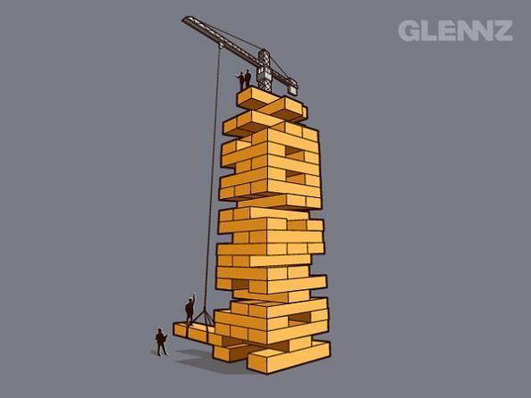 jenga construction glennz 25 Hilarious Illustrations by Glennz