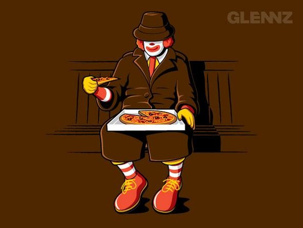 ronald mcdonald eating a pizza 25 Hilarious Illustrations by Glennz