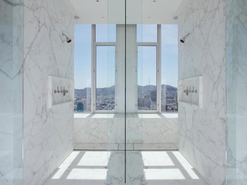 shower with two heads double shower for couples The Craziest Penthouse in San Francisco