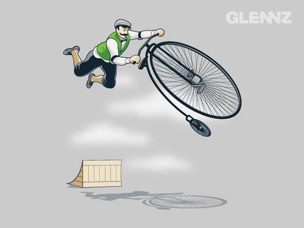 tricks with old time bikes 25 Hilarious Illustrations by Glennz