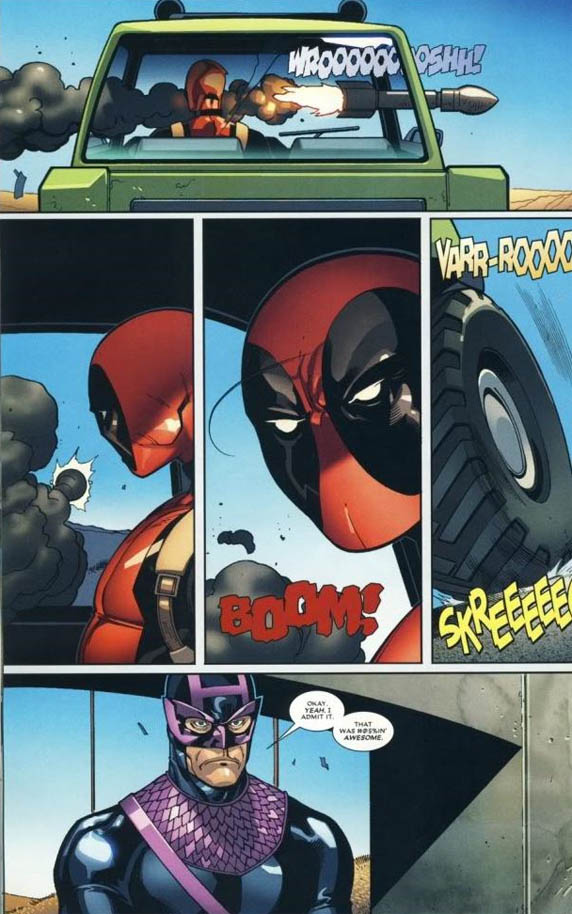 awesome deadpool comic missile through window Aawk! [Comic Strip]