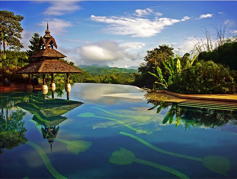 nicest infinity pool ever anantara golden triangle resort 25 Stunning Photographs of Bora Bora