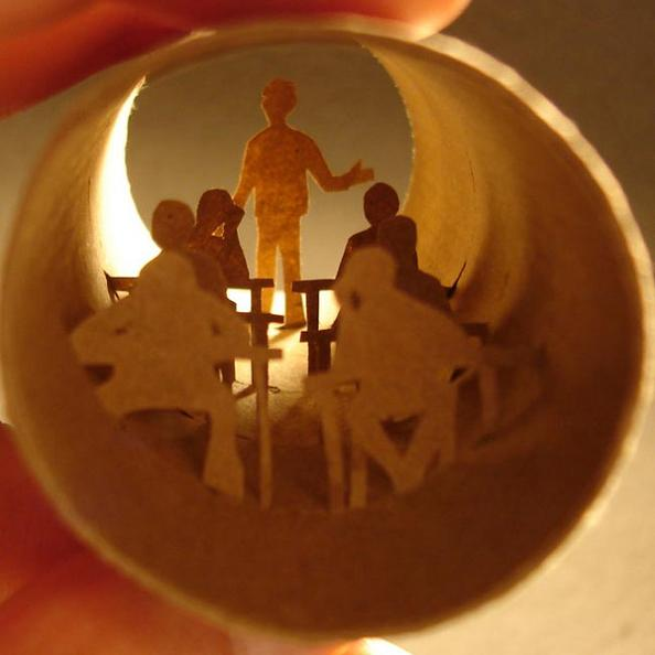 15 art inside empy paper roll Beautiful Miniature Paper Art Scenes [30 pics]