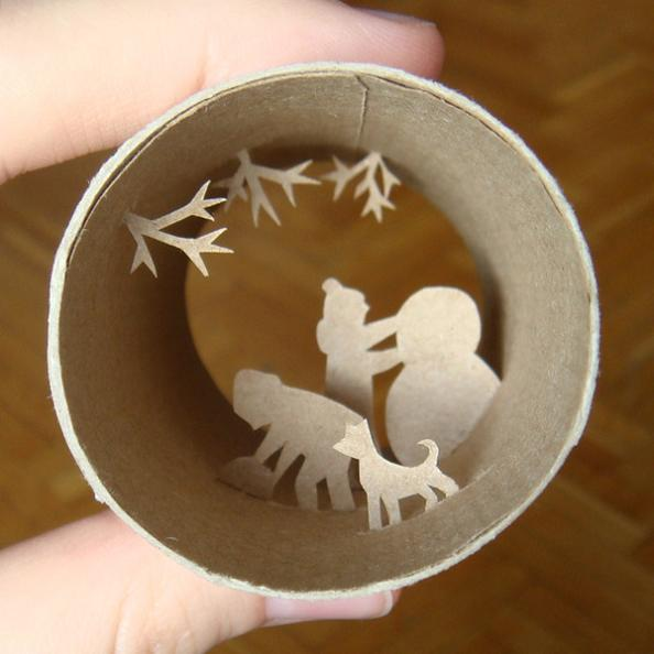 23 art inside an empy roll Beautiful Miniature Paper Art Scenes [30 pics]