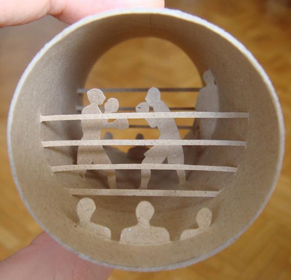 5 bahtroom roll art Beautiful Miniature Paper Art Scenes [30 pics]