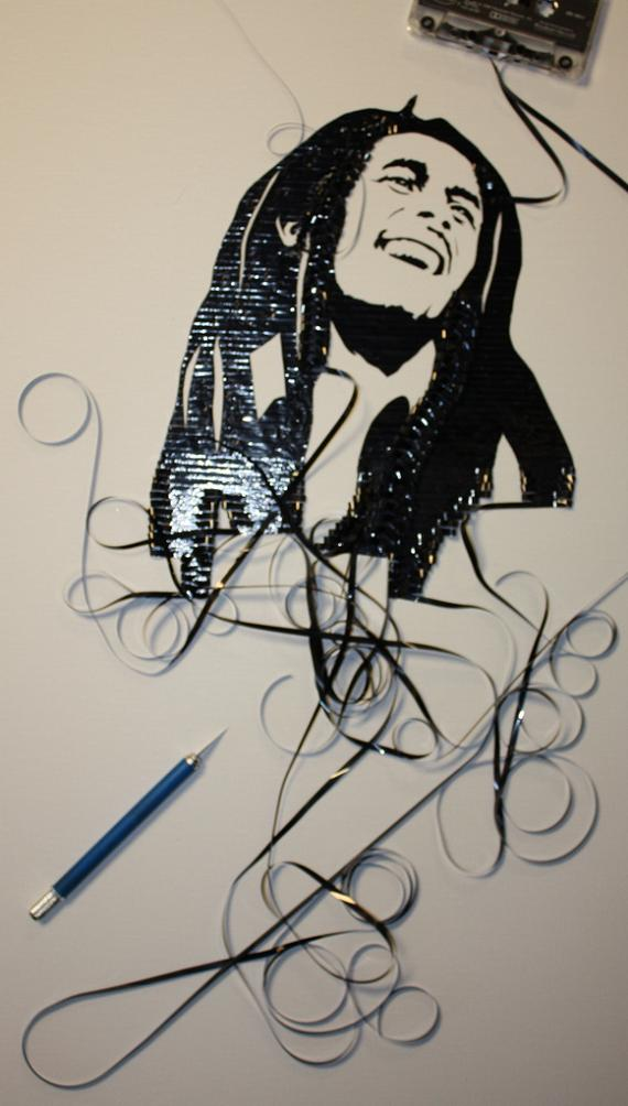 bob marley film art Unbelievable Tape Art by Erika Iris Simmons [15 Pics]