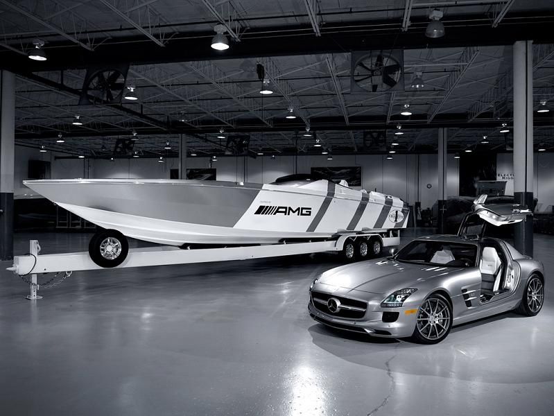 cigarette boat beside mercedes benz sls amg $1.2 Million 1,350 HP Mercedes Benz SLS AMG Cigarette Boat