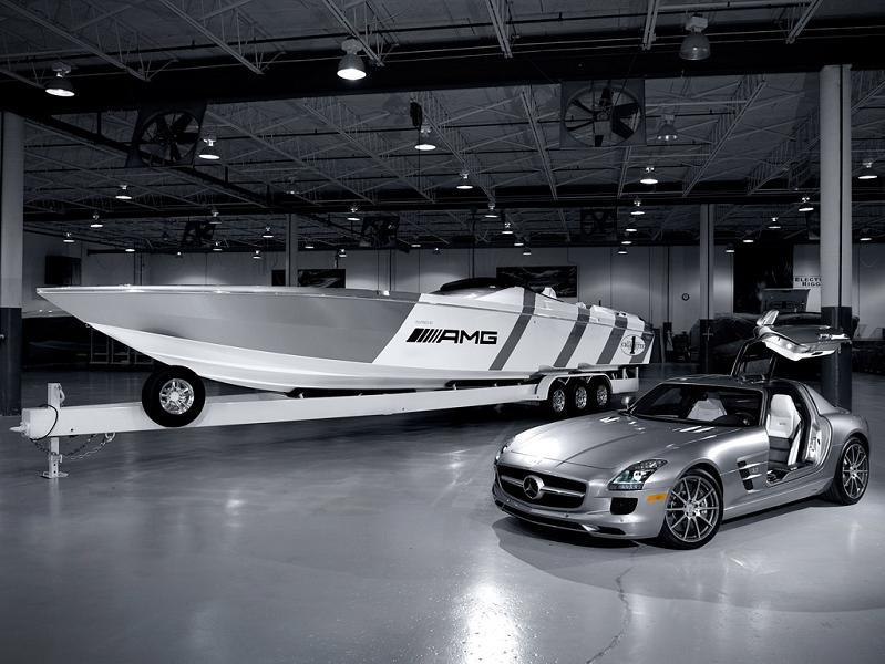 cigarette boat beside mercedes benz sls amg $1.2 Million 1,350 HP Mercedes Benz SLS AMG Cigarette Boat