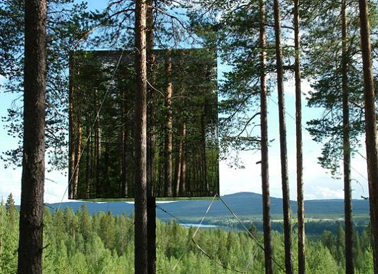 coolest tree house ever The Mirrorcube Treehotel in Sweden