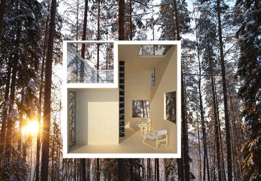 cross section mirrorcube The Mirrorcube Treehotel in Sweden