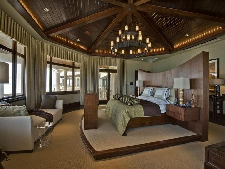 giant master bedroom bed in middle The $60 Million Mansion on the Ocean: Castillo Caribe, Cayman Islands