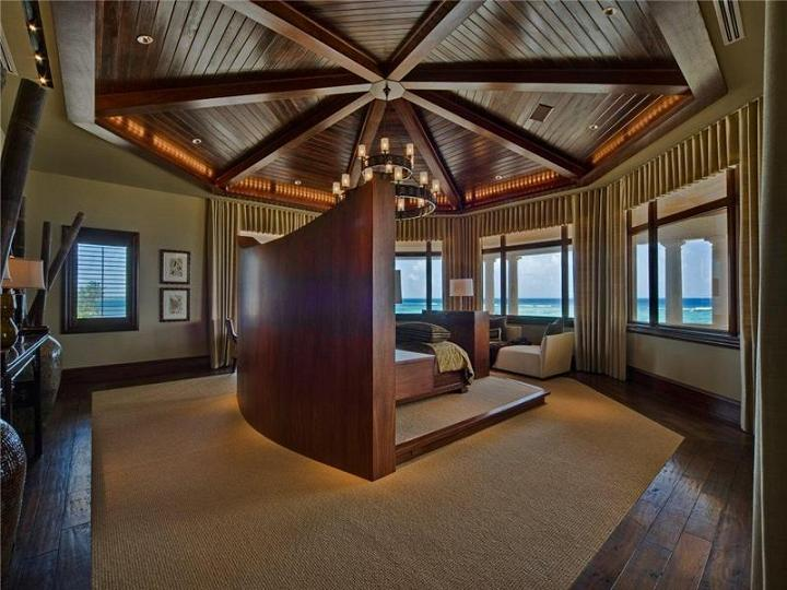 incredible master bedroom bed in the middle The $60 Million Mansion on the Ocean: Castillo Caribe, Cayman Islands