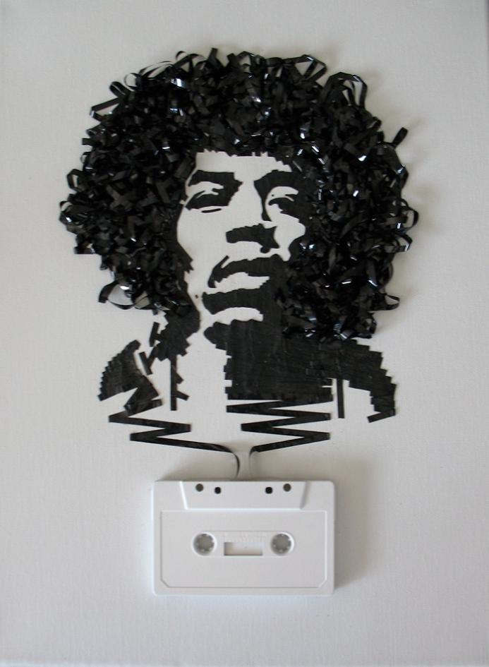 jimi hendrix cassette tape art iri5 Unbelievable Tape Art by Erika Iris Simmons [15 Pics]