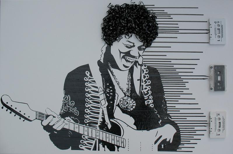 jimi hendrix experience casette tape art Unbelievable Tape Art by Erika Iris Simmons [15 Pics]