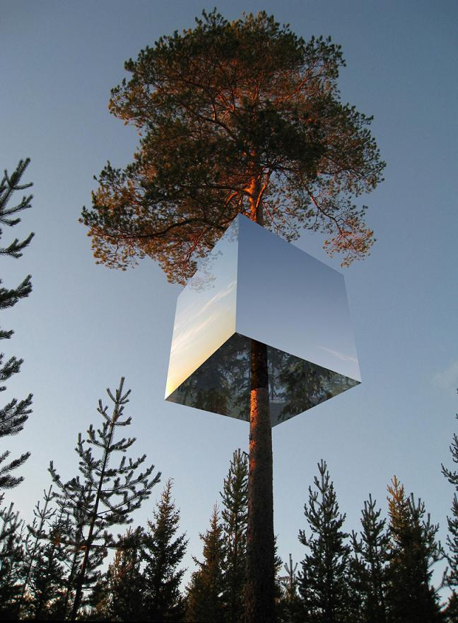 mirrorcube by tham and videgard architects The Mirrorcube Treehotel in Sweden