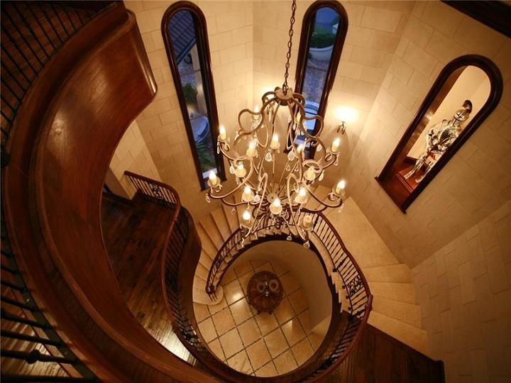 spiral staircase from the top The $60 Million Mansion on the Ocean: Castillo Caribe, Cayman Islands