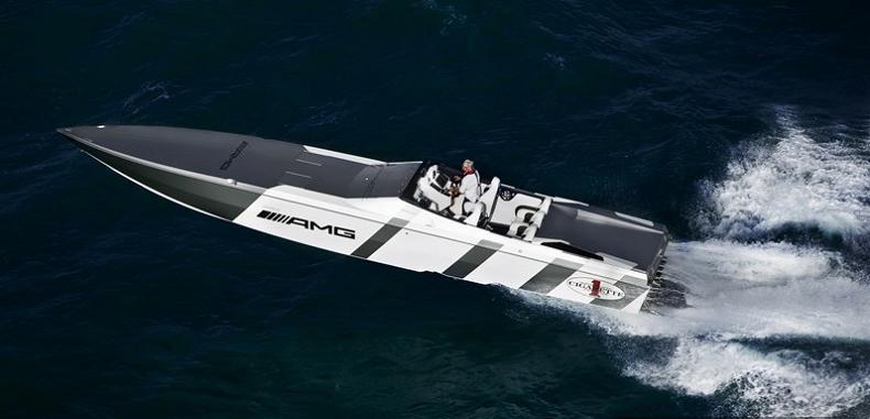white silver grey platinum speed boat $1.2 Million 1,350 HP Mercedes Benz SLS AMG Cigarette Boat
