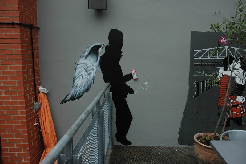 angel smoking and drinking mobstr stencil Brilliant Street Art by Mobstr [20 pics]