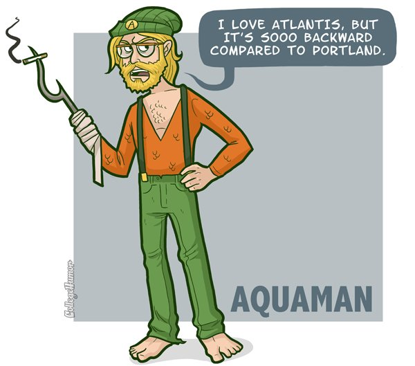 hipster aquaman What if Cats, Dinosaurs and Super Heroes Were Hipsters?