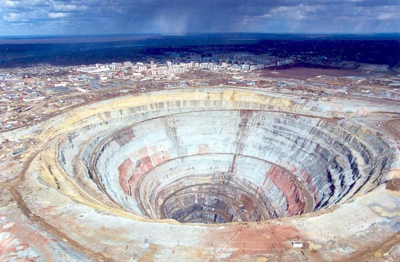 mirny mir mine russia diamond open hole massive The Largest Open Pit Diamond Mine in the World