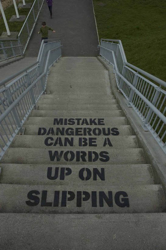 slipping up on words can be a dangerous mistake stencil Brilliant Street Art by Mobstr [20 pics]
