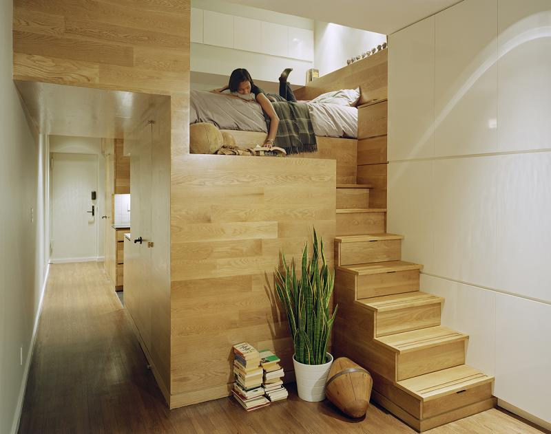 design layout ideas inspiration for 500 square feet studio apartment 9 Elevator Bed Rises to Reveal Sunken Living Room