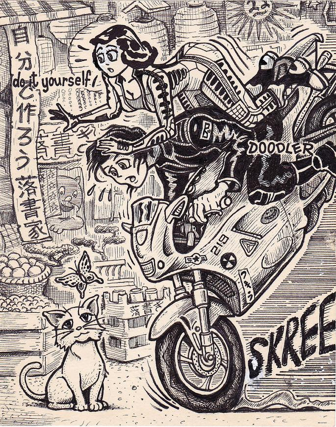 Same pinup girl drawn in 15 very different situations twistedsifter do it yourself doodler 23 same pinup girl drawn in 15 very different situations solutioingenieria Choice Image
