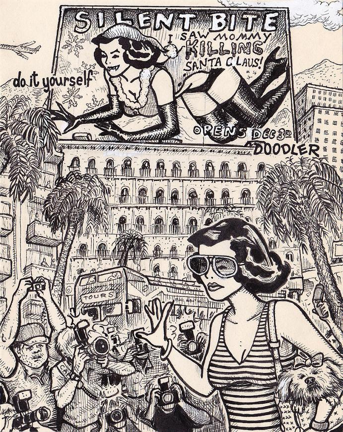 Same pinup girl drawn in 15 very different situations twistedsifter do it yourself doodler 32 same pinup girl drawn in 15 very different situations solutioingenieria Choice Image