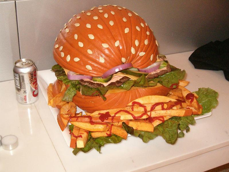 //twistedsifter.files.wordpress.com/2010/10/hamburger-pumpkin -with-fries.jpg & The Craziest Pumpkin Designs Ever! - Sun Valley Pediatric Dentistry