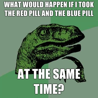 philosoraptor red pill blue pill 20 Burning Questions with the Famous Philosoraptor