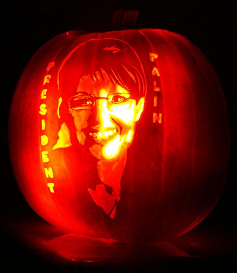 president sarah palin pumpkin 25 Mind Blowing Halloween Pumpkins