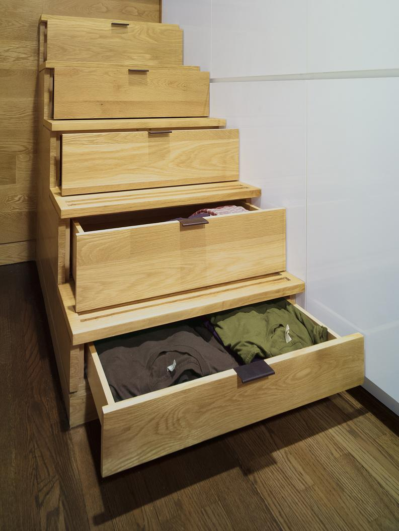 stairs with storage drawers space saver How to Live Large in a 500 sq ft (46 sq m) Apartment