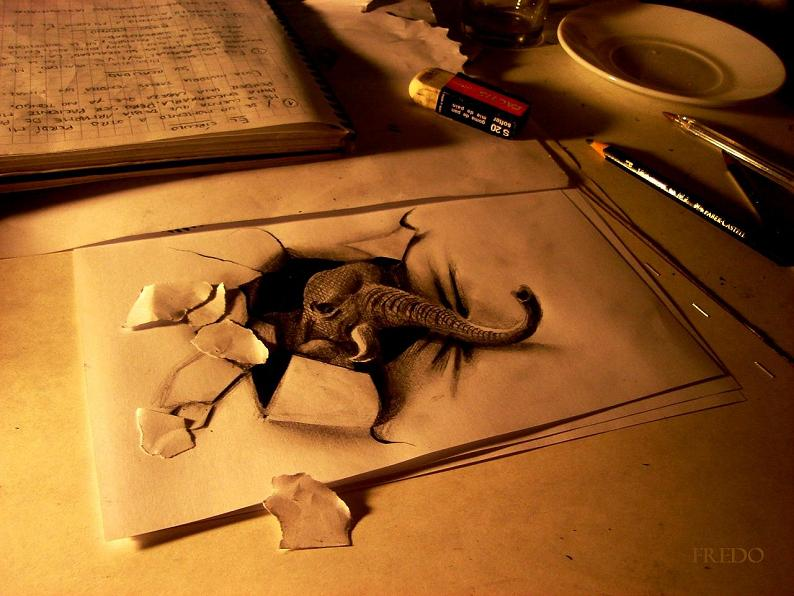 artist fredo 3d drawings illustrations art 6 Mind Blowing 3D Pencil Drawings by Nagai Hideyuki