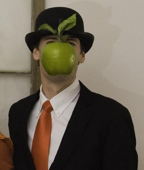 son of man rene magritte funny halloween costume apple in front of face 25 Hilarious Halloween Costumes