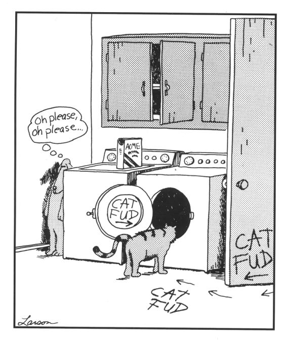 farside comic gary larson dog leads cat to washer Cat Fud [Comic Strip]