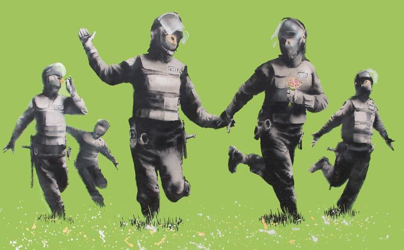 Picture of the Day: Banksy's Green Riot Cops