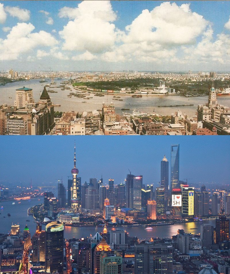 shanghai then and now 1990 vs 2010 The Top 50 Pictures of the Day for 2011