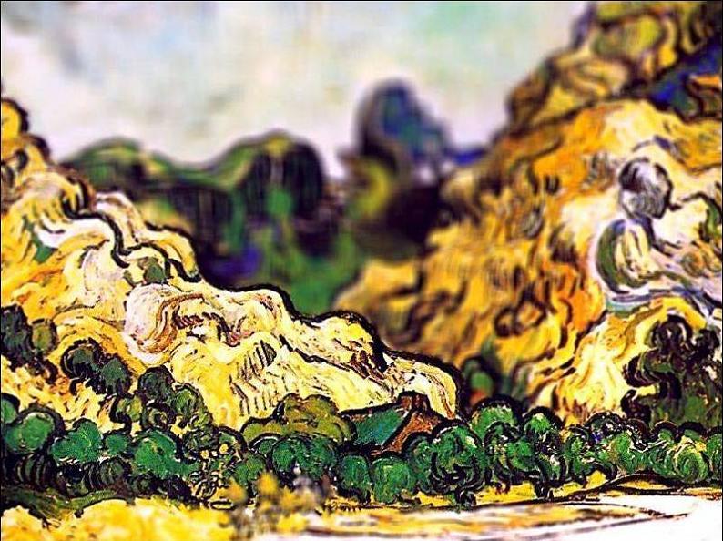 tilt shift van gogh mountains at saint remy painting Amazing Tilt Shift Van Gogh Paintings [16 Pics]