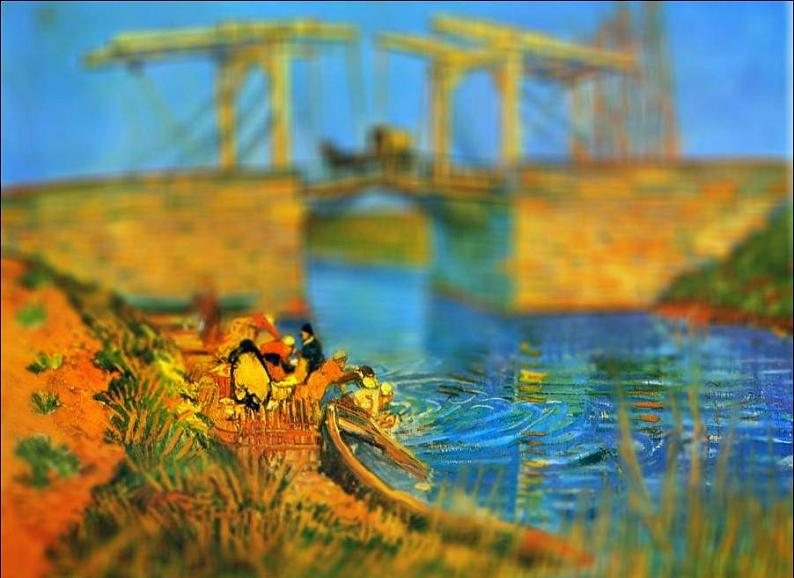 tilt shift van gogh pont de langlois painting Amazing Tilt Shift Van Gogh Paintings [16 Pics]