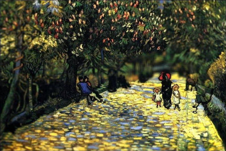 tilt shift van gogh red chestnuts in the public park at arles painting Amazing Tilt Shift Van Gogh Paintings [16 Pics]
