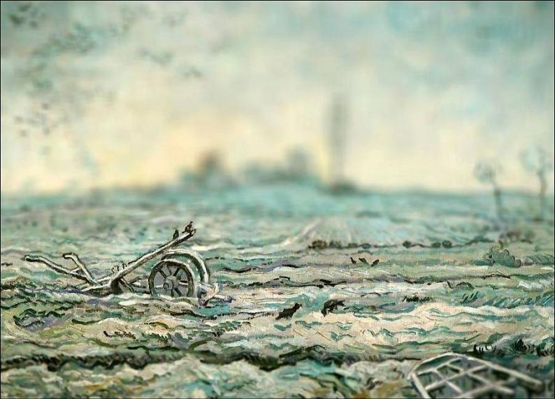tilt shift van gogh snow covered field with a harrow painting Amazing Tilt Shift Van Gogh Paintings [16 Pics]