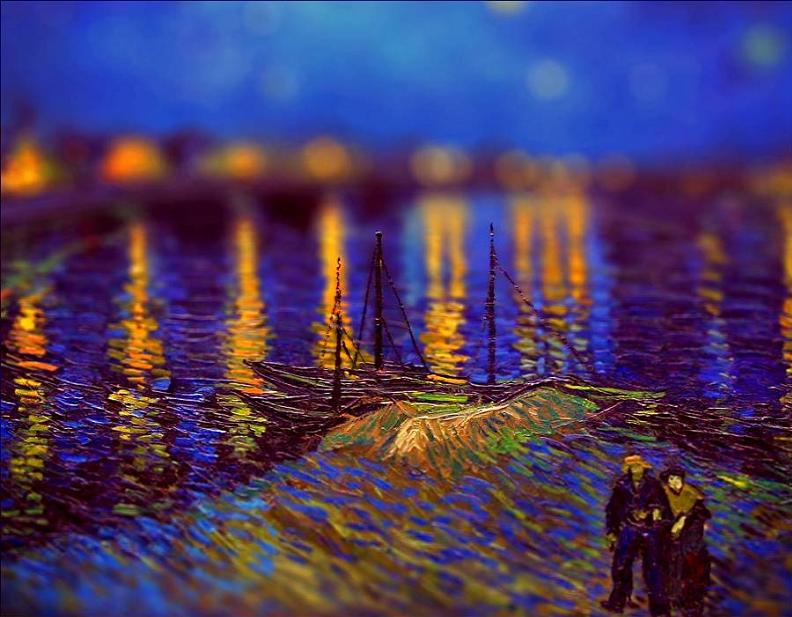 Tilt shift van gogh starry night over the rhone painting