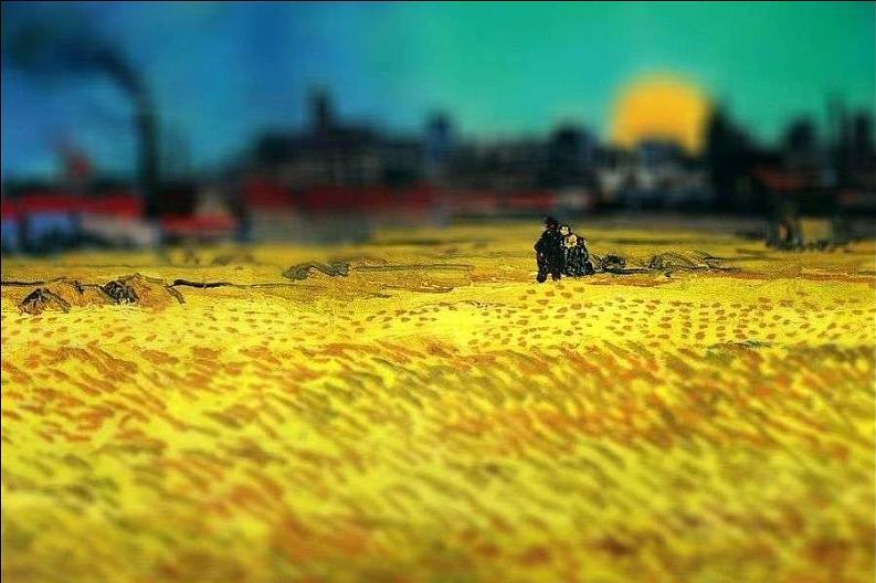 tilt shift van gogh sunset wheat fields near arles painting Amazing Tilt Shift Van Gogh Paintings [16 Pics]